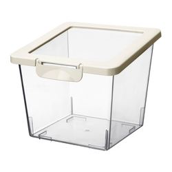KRUS dry food jar with lid, white, transparent Length: 17 cm Width: 17 cm Height: 16 cm