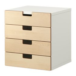 STUVA storage combination with drawers, birch, white Width: 60 cm Depth: 50 cm Height: 64 cm