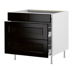 "AKURUM base cabinet with 2+2 drawers, Ramsjö black-brown, birch Width: 35 7/8 "" Depth: 24 7/8 "" Height: 30 3/8 "" Width: 91 cm Depth: 63 cm Height: 77 cm"