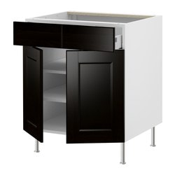"AKURUM base cab/shelf/2 drawers/2 doors, Ramsjö black-brown, birch Width: 35 7/8 "" Depth: 24 3/4 "" Height: 30 3/8 "" Width: 91.2 cm Depth: 62.8 cm Height: 77.1 cm"