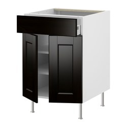 "AKURUM base cabinet/shelves/drawer/2 doors, Ramsjö black-brown, white Width: 23 7/8 "" Depth: 24 3/4 "" Height: 30 3/8 "" Width: 60.8 cm Depth: 62.8 cm Height: 77.1 cm"