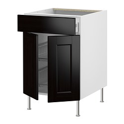 "AKURUM base cb w wire basket/drawer/2 door, Ramsjö black-brown, white Width: 23 7/8 "" Depth: 24 3/4 "" Height: 30 3/8 "" Width: 60.8 cm Depth: 62.8 cm Height: 77.1 cm"