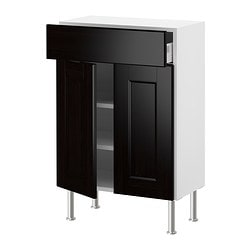 AKURUM base cabinet/shelves/drawer/2 doors, Ramsjö black-brown, white