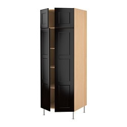 "AKURUM high cabinet with shelves/4 doors, Ramsjö black-brown, white Frame, width: 30 "" Depth: 24 1/8 "" Frame, height: 80 "" Frame, width: 76.2 cm Depth: 61.2 cm Frame, height: 203.2 cm"