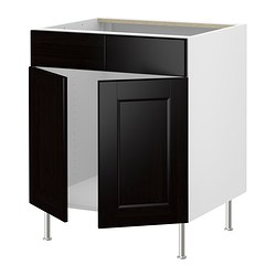 "AKURUM base cb f sink w 2 drs/2 fascia pan, Ramsjö black-brown, birch Width: 35 7/8 "" Width: 91.2 cm"
