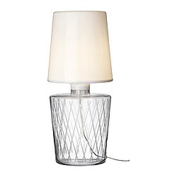 "IKEA STOCKHOLM table lamp, clear glass Diameter: 10 "" Height: 24 "" Cord length: 6 ' 11 "" Diameter: 26 cm Height: 60 cm Cord length: 2.1 m"