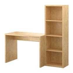 LASSE desk with bookcase, birch effect Width: 155 cm Depth: 50 cm Height: 148 cm