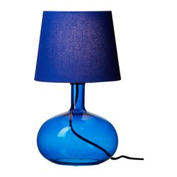 LJUSÅS UVÅS table lamp, blue Height: 42.5 cm Base diameter: 23 cm Shade diameter: 24 cm