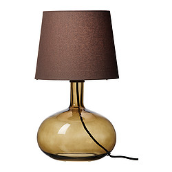 LJUSÅS UVÅS table lamp, brown Height: 42.0 cm Base diameter: 23 cm Shade diameter: 24 cm