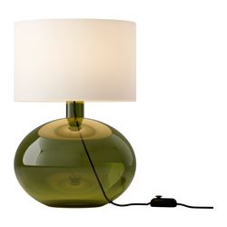 LJUSÅS YSBY table lamp, green Height: 56 cm Base diameter: 33 cm Shade diameter: 38 cm