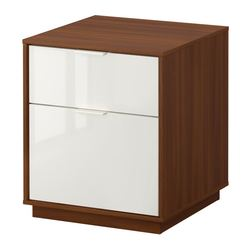 "NYVOLL chest with 2 drawers, white, medium brown Width: 17 3/4 "" Depth: 17 3/4 "" Height: 20 1/2 "" Width: 45 cm Depth: 45 cm Height: 52 cm"