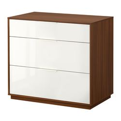 NYVOLL chest of 3 drawers, white, medium brown Width: 90 cm Depth: 50 cm Height: 80 cm