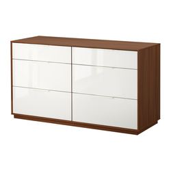 NYVOLL chest of 6 drawers, white, medium brown Width: 146 cm Depth: 50 cm Height: 80 cm
