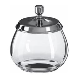 MOGDEN jar with lid, stainless steel, glass Diameter: 11.1 cm Height: 12.2 cm Volume: 0.2 l