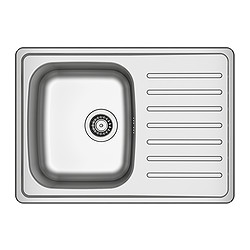 "FYNDIG 1 bowl inset sink with drainer, stainless steel Length: 28 "" Depth: 20 "" Height: 6 "" Length: 70 cm Depth: 50 cm Height: 16 cm"