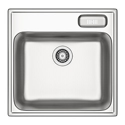 BOHOLMEN single-bowl inset sink, stainless steel Length: 56 cm Depth: 55 cm Height: 18 cm