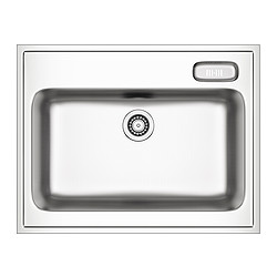 BOHOLMEN single bowl sink, stainless steel Length: 80 cm Depth: 63.5 cm Height: 18 cm
