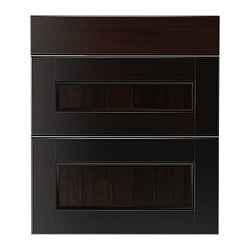 "RAMSJÖ deep drawer front, set of 3, black-brown Width: 14 3/4 "" Height: 30 1/8 "" Thickness: 3/4 "" Width: 37.6 cm Height: 76.5 cm Thickness: 2 cm"