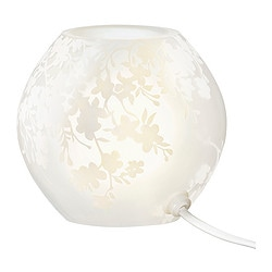 "KNUBBIG table lamp, frosted glass white, cherry-blossoms Diameter: 5 "" Height: 4 "" Cord length: 4 ' 7 "" Diameter: 13 cm Height: 11 cm Cord length: 1.4 m"