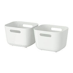 BOHOLMEN washing-up bowl and rinsing basket, white Length: 22 cm Width: 19 cm Total height: 19 cm