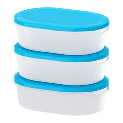 "JÄMKA food container, transparent white, blue Length: 7 ¾ "" Width: 5 ½ "" Height: 2 ¼ "" Length: 20 cm Width: 14 cm Height: 6 cm"