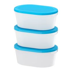 "JÄMKA food container, transparent white, blue Length: 7 ¾ "" Width: 5 ½ "" Height: 3 ¼ "" Length: 20 cm Width: 14 cm Height: 8 cm"