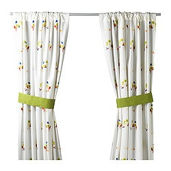 TORVA curtains with tie-backs, 1 pair, multicolour Length: 300 cm Width: 120 cm