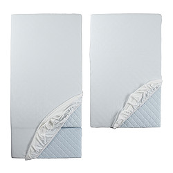 LEN, Fitted sheet f/extend bed, set of 2, white