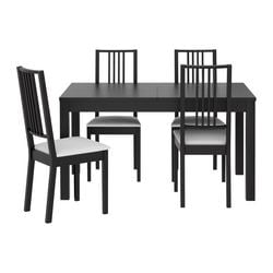 BJURSTA /  BÖRJE table and 4 chairs, Gobo white, brown-black Min. length: 140 cm Max. length: 220 cm Width: 84 cm