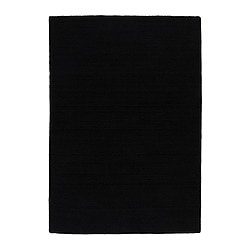 "ALMSTED rug, low pile, black Length: 6 ' 7 "" Width: 4 ' 7 "" Surface density: 11 oz/sq ft Length: 200 cm Width: 140 cm Surface density: 3290 g/m²"