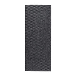 "MORUM rug, flatwoven, dark gray Length: 6 ' 7 "" Width: 2 ' 7 "" Surface density: 5 oz/sq ft Length: 200 cm Width: 80 cm Surface density: 1385 g/m²"