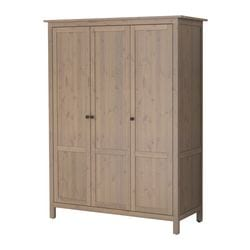 HEMNES wardrobe with 3 doors, grey-brown Width: 152 cm Depth: 58 cm Height: 197 cm