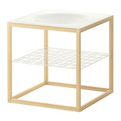 IKEA PS 2012 side table with bowl, bamboo, white Length: 48 cm Width: 48 cm Height: 48 cm