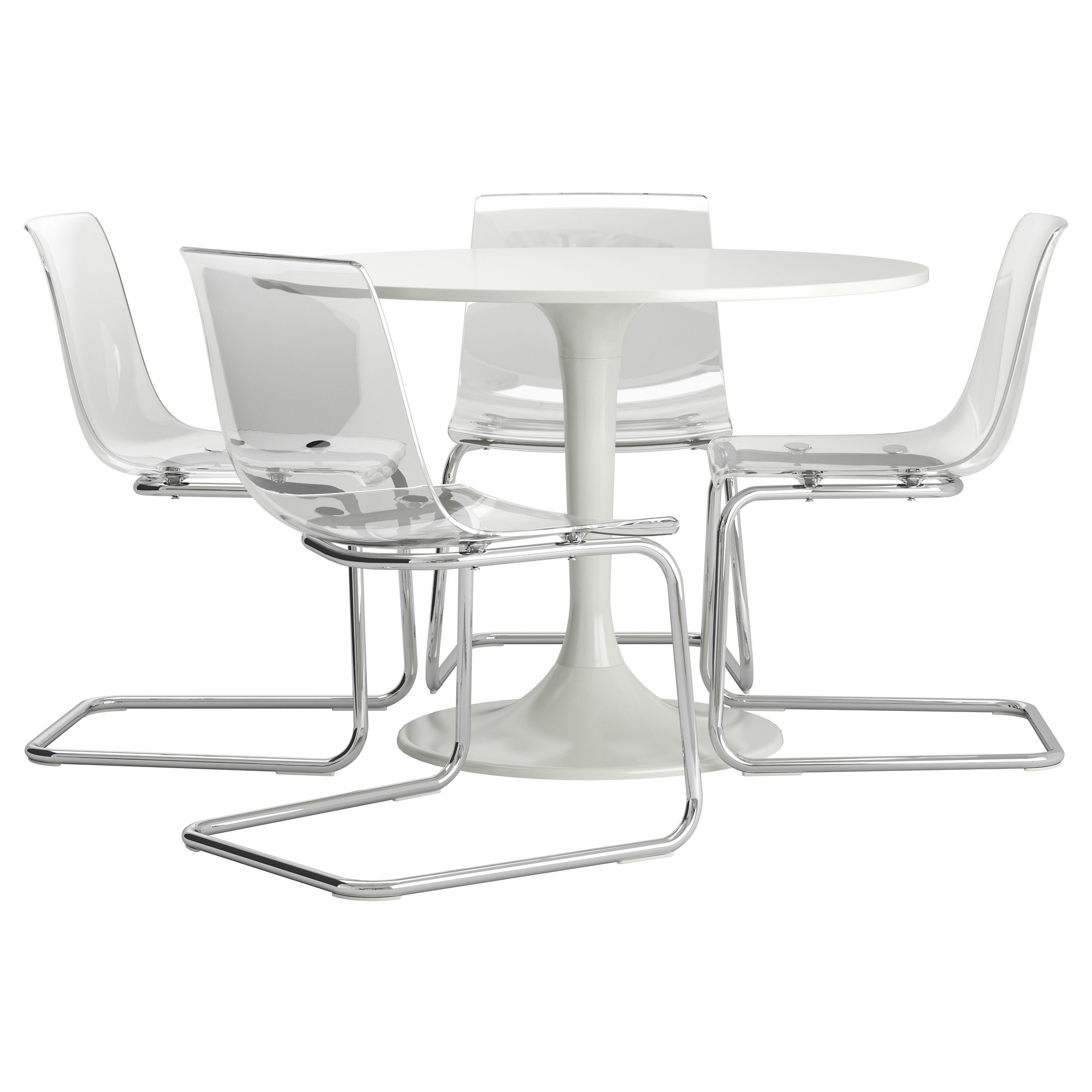 BlancTransparent Table 4 Docksta Tobias Et Chaises MUVSpz