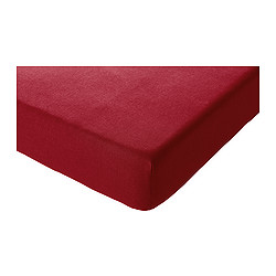 SÖMNIG fitted sheet, dark red Length: 200 cm Width: 140 cm