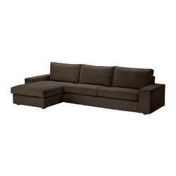 KIVIK three-seat sofa and chaise longue, Svanby brown Width: 318 cm Depth: 163 cm Height: 83 cm