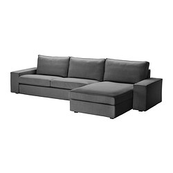 KIVIK three-seat sofa and chaise longue, Svanby grey Width: 318 cm Depth: 163 cm Height: 83 cm