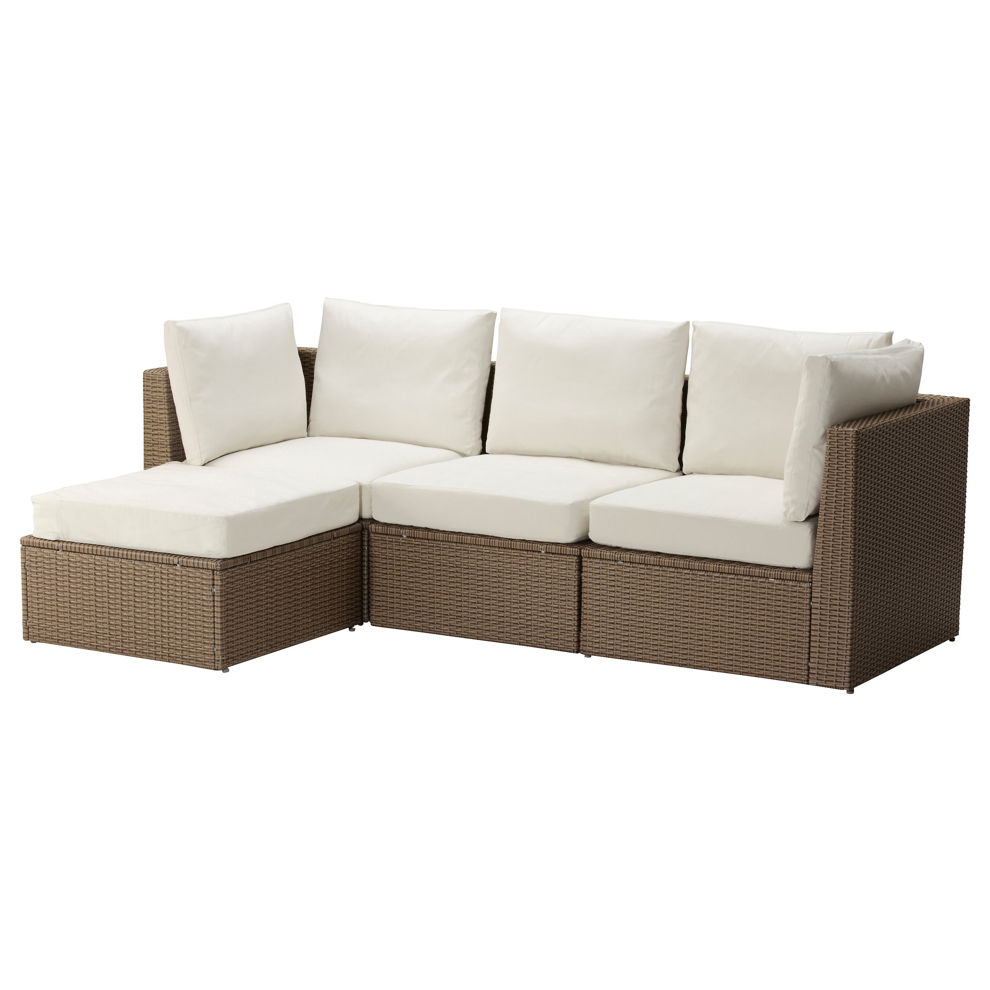 ARHOLMA 3 Seat Sofa With Footstool, Outdoor, Brown, Beige Depth: 76