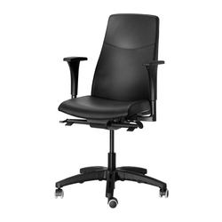 "VOLMAR swivel chair with armrests, black Tested for: 242 lb 8 oz Height: 47 5/8 "" Seat width: 16 1/8 "" Tested for: 110 kg Height: 121 cm Seat width: 41 cm"