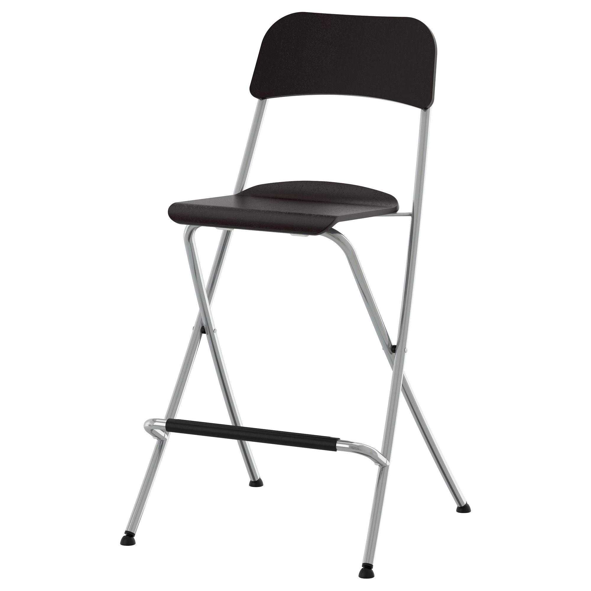 FRANKLIN bar stool with backrest, foldable, brown-black, silver color  Tested for