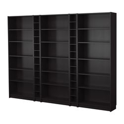 BILLY bookcase combination, black-brown Width: 280 cm Depth: 28 cm Height: 202 cm