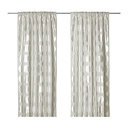 NINNI RUND curtains, 1 pair, light beige