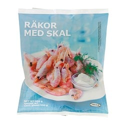 RÄKOR MED SKAL shrimps with shell, frozen Net weight: 500 g