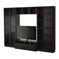 "BILLY bookcase combination with TV bench, black-brown Width: 110 1/4 "" Max. depth: 15 3/8 "" Height: 79 1/2 "" Width: 280 cm Max. depth: 39 cm Height: 202 cm"
