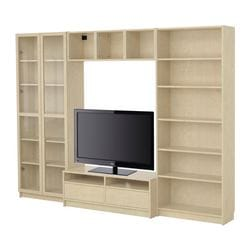 "BILLY bookcase combination with TV bench, birch veneer Width: 110 1/4 "" Max. depth: 15 3/8 "" Height: 79 1/2 "" Width: 280 cm Max. depth: 39 cm Height: 202 cm"