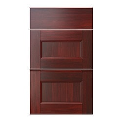"RAMSJÖ deep drawer front, set of 3, red-brown Width: 14 3/4 "" Height: 30 1/8 "" Thickness: 3/4 "" Width: 37.6 cm Height: 76.5 cm Thickness: 2 cm"