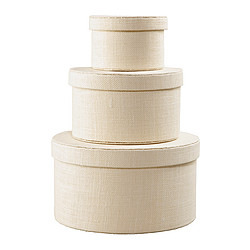 KVARNVIK box, set of 3, white
