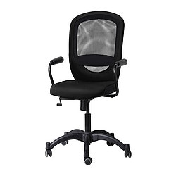 "VILGOT/ NOMINELL swivel chair with armrests, black Tested for: 242 lb 8 oz Width: 29 1/8 "" Depth: 27 1/8 "" Tested for: 110 kg Width: 74 cm Depth: 69 cm"