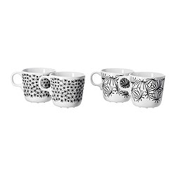 UNGDOM mug, white/black, assorted patterns Height: 8 cm Volume: 21 cl Package quantity: 4 pack