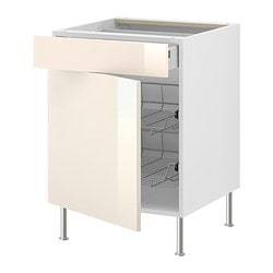 "AKURUM base cab w wire basket/drawer/door, Abstrakt cream, white Width: 23 7/8 "" Depth: 24 3/4 "" Height: 30 3/8 "" Width: 60.8 cm Depth: 62.8 cm Height: 77.1 cm"